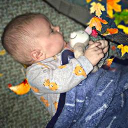 baby boy toy hug deer leaves blanket elijah myangel freetoedit