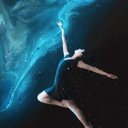 unsplash galaxy surreal surrealism fantasy space girl bluebackground lighteffects dance dancing