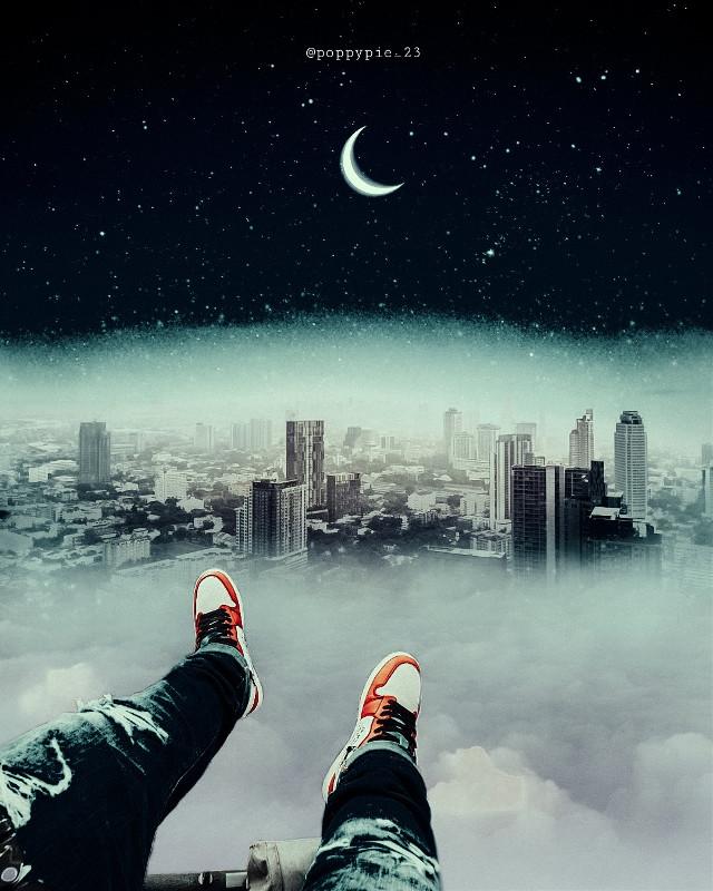 View from above🙂 #picsart #myedit #myremix #surreal #freetoedit #sky #photomanipulation #photoart #fxeffects #viewfromabove #cityscape #clouds #nightsky #moon @freetoedit @picsart