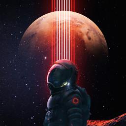 astronaut mars redplanet futuristic space stars galaxy spaceedit redglow fantasy freetoedit