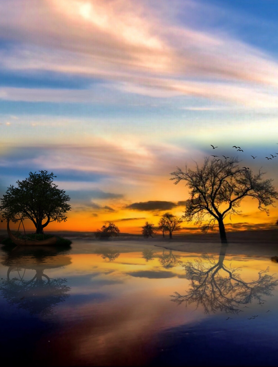 Atardecer 😊Sunset😊 #freetoedit #sky #reflection #sunset #landscape #nature #makeawesome #heypicsart #myedit #araceliss