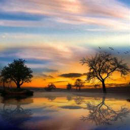 freetoedit sky reflection sunset landscape nature makeawesome heypicsart myedit araceliss