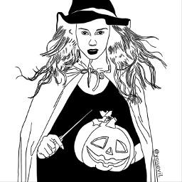 freetoedit outlineart witch halloween yourstocolor pureoutline realoutline drawing jackolantern magicwand wand daayan brujita autumn piccolastrega hexe