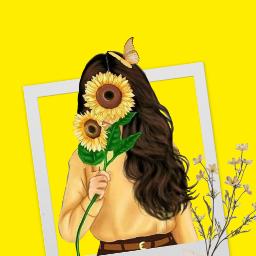 freetoedit yellow yellowaesthetic flower aesthetic girl