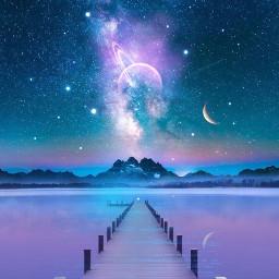 myedit myart starrysky planets moon freetoedit