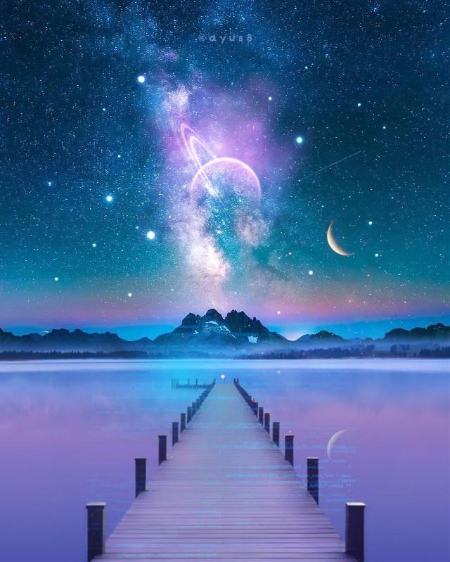 Tutorial♡https://youtu.be/A1Ibw4s6Wew     Have a wonderful weekend😊⭐️     #myedit #myart #starrysky #planets #moon #stars #cosmic #space #galaxy #universe #glow #lake #bridge #mountains #shine #sparkle #madewithpicsart #madewithlove #ayus8 #ayus8art #freetoedit