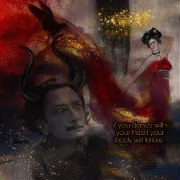 salvadordali fridakahlo unibrow_queen dance art dali love frida inspiration. freetoedit unsplash inspiration