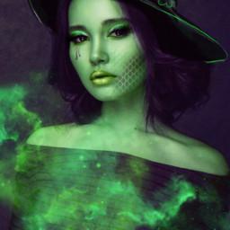 halloween papicks heypicsart witch girl green purple myedit freetoedit