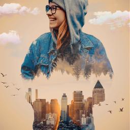 surrealisticworld freetoedit doubleexposure people cityscape