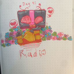 inktober day4 radio baby presiousbaby flowers heart huggie pinkvibe again drawing myart possibleoc traditionalart ohuhu micron gellyroll highlights ilovehim pleaselovehim forme atleast justkidding forhim atmost