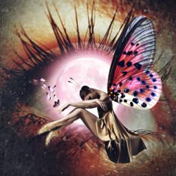 freetoedit heypicsart makeawesome creative surreal eye eyeart butterfly myedit araceliss