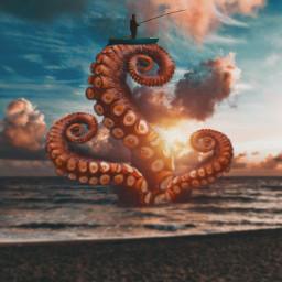 surrealart surreal madewithpicsart madebyme fauspre myedit editbyme octupus artwork fisherman visualart freetoedit
