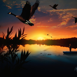 mastershoutout photoremix photoediting sunrise landscape geeseinflight fishing nature layerseffect fxeffects fxtools freetoedit