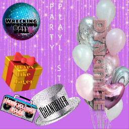 partyplaylist party playist purple hat boombox balloons discoball present song freetoedit