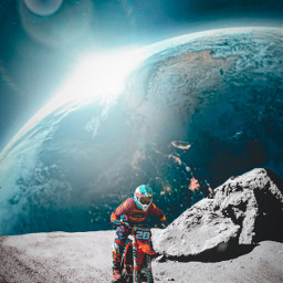 picsart myedit madewithpicsart galaxy moon rider bike imagination freetoedit