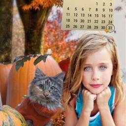 pumpkins cat pet girl calendar srcoctobercalendar freetoedit