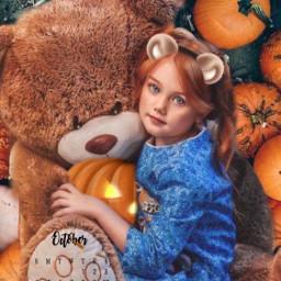 girl pumpkins teddybear calendar october srcoctobercalendar freetoedit