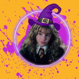 witch witchplease hermionie hermionegranger harrypotter halloween orange purple splatter witchhat hat circle freetoedit