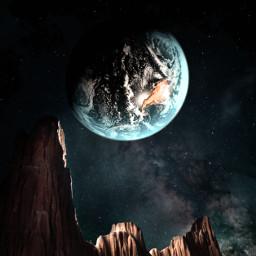 picsart myedit myremix surreal freetoedit sky photomanipulation photoart fxeffects earthplanet universe mountains unsplash