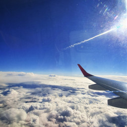 upintheair upinthesky clouds sun love airplane travel beginningtobloom freetoedit