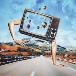tv hands mountain surreal balloon road freetoedit srcsmallscreen smallscreen