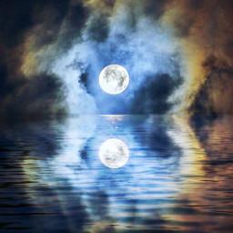 moon sky moonlight night mirroreffect freetoedit