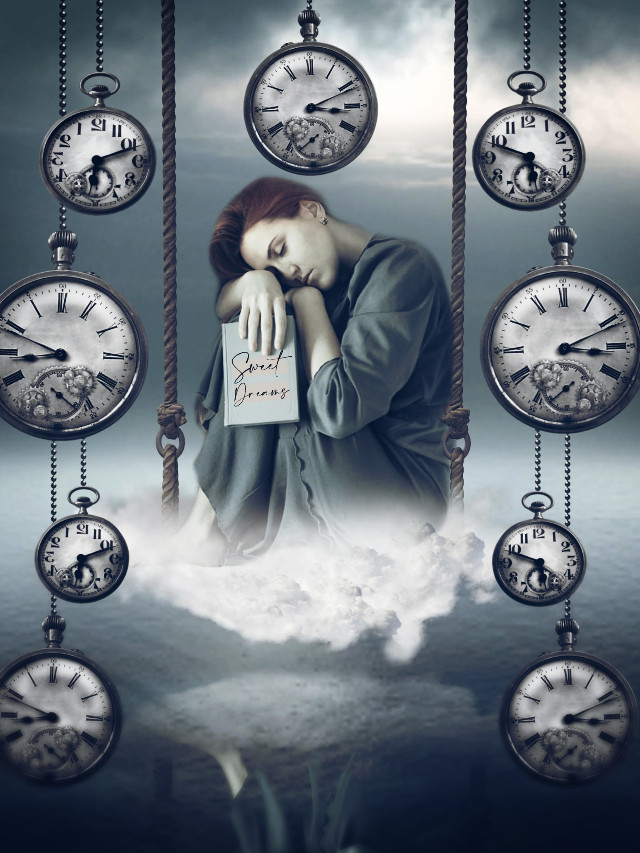 Descanso.  #freetoedit #myedit #editedbyme #madewithpicsart #makeawesome #heypicsart #surreal #cloud#surreal #fantasy #emotions #surrealism #swing #time #clocks #araceliss #girl