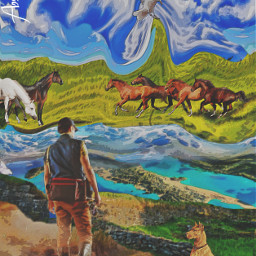 the horses man dog twoworlds surrealisticworld ocean meadow bluesky clouds stonewall freetoedit