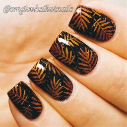 freetoedit autumnal nails leaves nice pretty nailideas