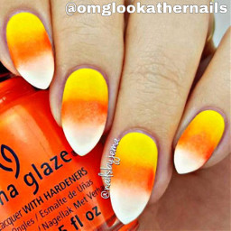 freetoedit candycorn nails orange yellow white ideas recommended halloween