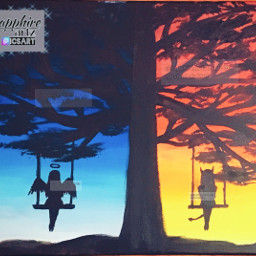 painting devil angel devilgirl angelgirl art traditionalart blue silhouettes tree bad red sunset inspired oldpainting acrylicpaint drawing people nature