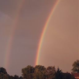 freetoedit rainbow doublerainbow nature naturelover beautiful sunset rain rainydays moody colorful rainbowbright autumn fall