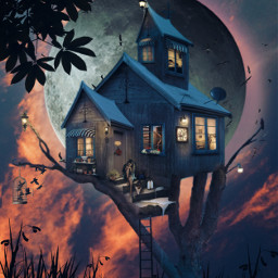freetoedit forest fantasy madewithpicsart heypicsart makeawesome myedit editedbyme creative sky moon fullmoon surreal woodhouse araceliss girl