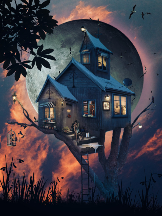Good night 😘 #freetoedit #forest #fantasy #madewithpicsart #heypicsart  #makeawesome #myedit #editedbyme #creative #sky #moon #fullmoon  #surreal  #woodhouse #araceliss #girl