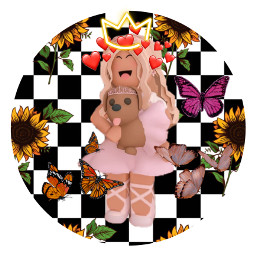 pfp roblox adoptme aesthetic cute pink butterfly checkered puppy pretty gilry middleschool love crown princess dress freetoedit