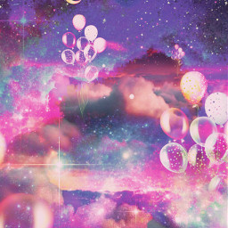 freetoedit glitter sparkle galaxy sky stars moon balloons universe stardust magical dream art landscape night inspirational background overlay