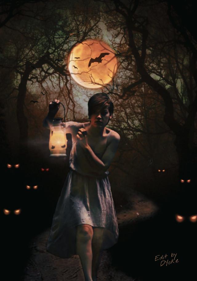 #night, #fullmoon, #darkforest, #glowingeyes , #scary, #frightening , #halloweenfun,  #halloweenedit, #halloweenspirit