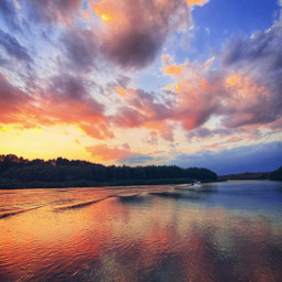 sunset love clouds cloudscape river mirror nature freetoedit