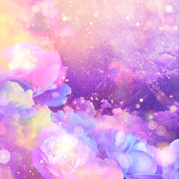 freetoedit glitter sparkle galaxy clouds flowers floral bokeh purple pastel aesthetic sky roses art colorful stardust overlay background
