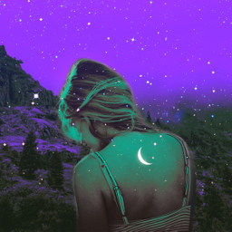 psychedelic moon woman mystic mysterious neon colorful heypicsart makeawesome vibes aesthetic mountains freetoedit unsplash