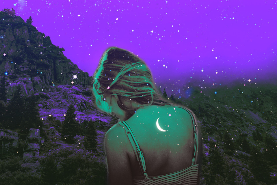 #psychedelic #moon #woman #mystic #mysterious #neon #colorful #heypicsart #makeawesome #vibes #aesthetic #mountains
