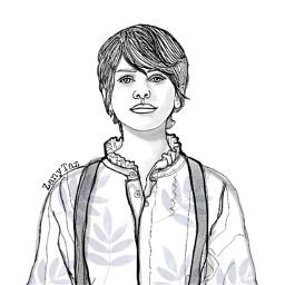 sophialillis trendygirl portrait drawing outline outlineart people illustration illustrationart freetoedit