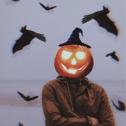 halloween man bats creepy pumpkin pumpkinhead creepyman freetoedit