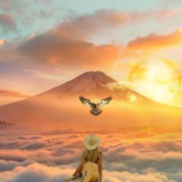 horizon sunset mountains cliff guitar myedit remixed orangesky freetoedit