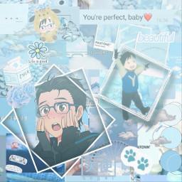yurionice yurikatsuki cute animeboy animeedit anime aesthetic lightblueaesthetic animebackground yurioniceedit yurioniceyuri freetoedit