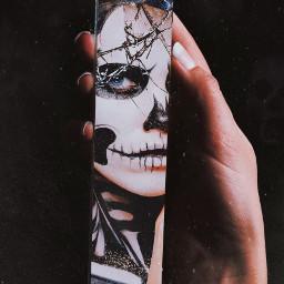 freetoedit halloween girl mirror skull picsart хэллоуин девушка череп зеркало