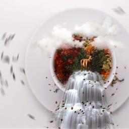 deer tea cup remix madewithpicsart nature fallleaves fall clouds radialblureffect freetoedit ircacupoftea acupoftea