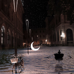 city nightsky moon halfmoon river flood stars photoedit remix freetoedit