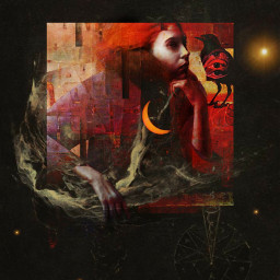 abstract mystyle babelart art painting illustration girl raven intheclouds colorful thoughts surrealism darkart collage