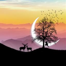 silhouette myedit edit moon surreal freetoedit